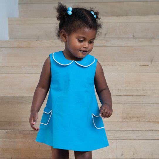 Niel en Kaat // Blauw A-lijn jurkje - Nu te koop - Handgemaakte kleurrijke jurkjes met een retro touch voor kleine dametjes