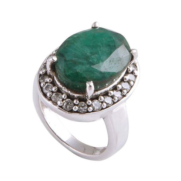 EXCLUSIVE SOLID 925 STERLING SILVER EMERALD & C.Z. STONE RING 7.08g R01489 #Handmade #RING