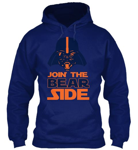 Join The Bear Side Chicago Football Oxford Navy Sweatshirt Front