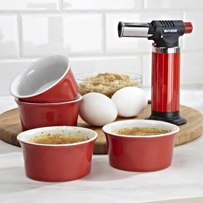 Prepare restaurant quality Creme Brulee in the comfort of your own kitchen. Set includes 4 ramekin dishes, 1 Micro culinary torch and instructions. Torch features an air adjustable ring which makes controlling the flame intensity quick and easy. Torch is also great for melting cheese and toasting meringue.