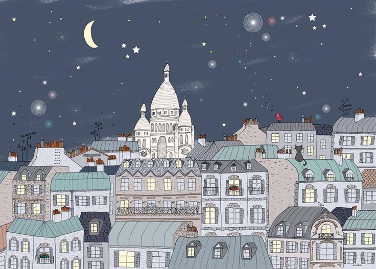 Affiche Déco thème Paris, Sacré Cœur, Montmartre - Amélie Biggs
