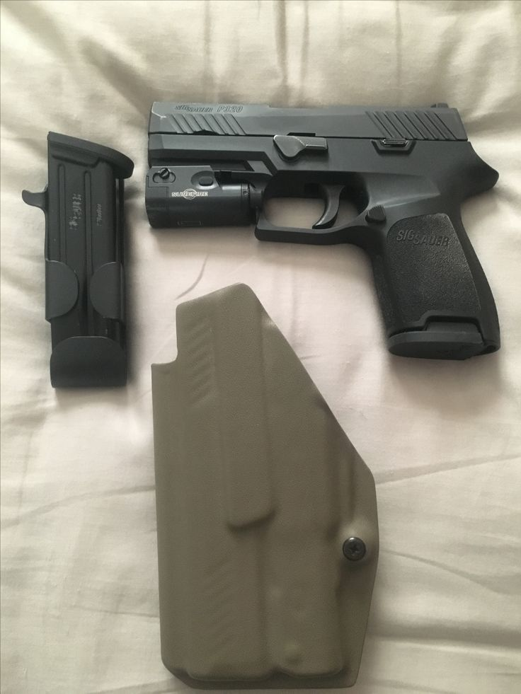 Sig P320 Compact 9mm, with a Surefire XC-1 200L light. Holster, and extra 15 round mag in a snag mag for carry.
