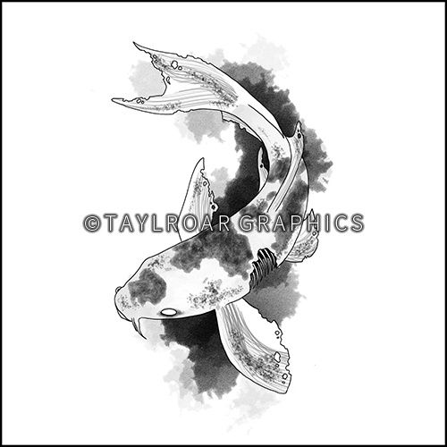 Zombie koi fish custom tattoo design. www.taylroargraphics.com