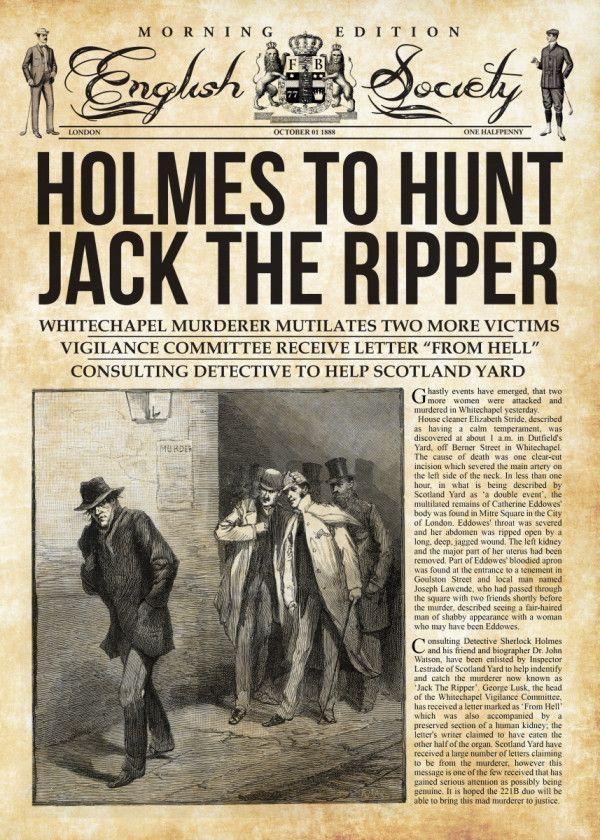 Holmes Hunts Jack The Ripper Poster Print By Mr Zero Displate Vintage Newspaper Holmes Sherlock