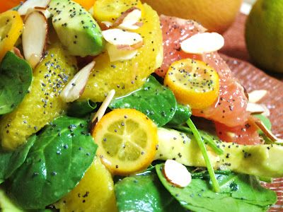 Try a Winter Citrus Avocado Salad to help bust those post-holiday blahs!: Recipe Creations, Avocado Salads, Raw Salad, Vanilla Cake, Winter Citrus, Perect Salad, Citrus Avocado, Citrus Dresses, Savory Recipe