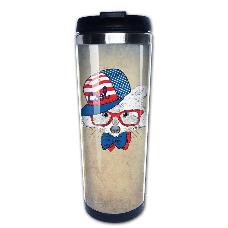 Sonwandice Cool Cartoon Dog In Usa Flag Hat Coffee Travel