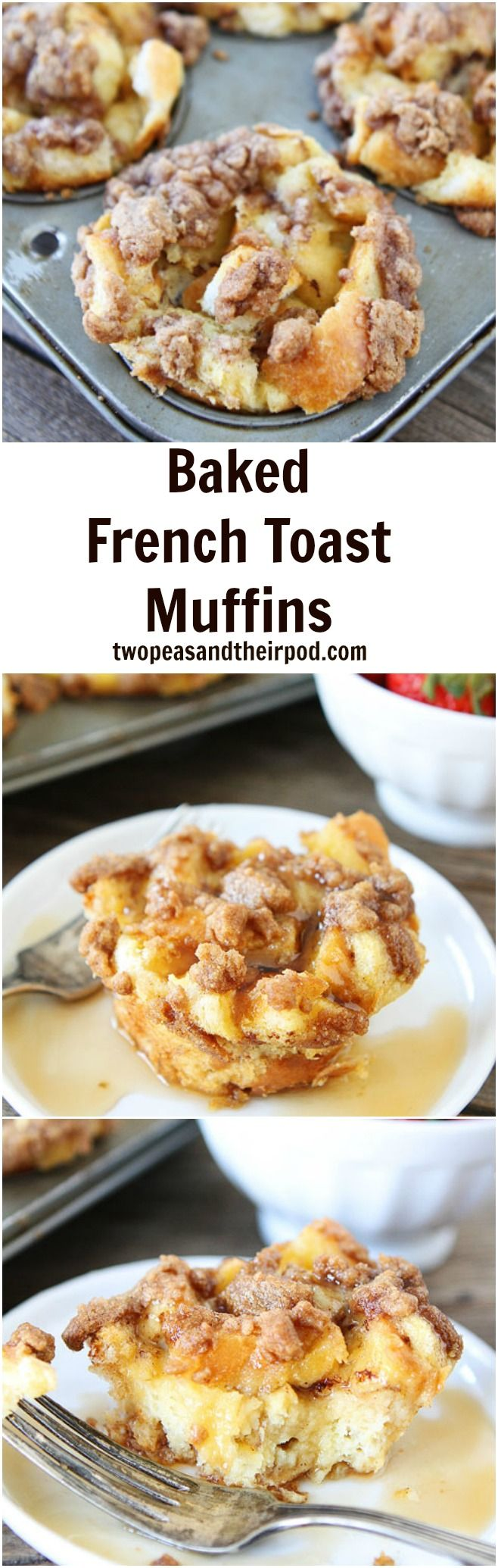 Baked French Toast Muffins Recipe on twopeasandtheirpod.com Enjoy French toast in muffin form! These sweet muffins are a real breakfast treat!