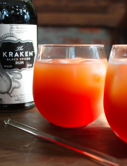 SEA MONSTER -- (makes 1 drink) Spiced rum; Grapefruit juice; Ginger beer; Grenadine -- Pour 1 ounce spiced rum over ice cubes in a glass, add 3 ounces grapefruit juice, stir and add 2 ounces ginger beer and top with 1/2 ounce grenadine.