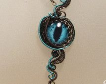 OJO de dragón collar - alambre envuelto collar, joyería de mal de ojo, joyas de bronce y teal, joyería steampunk, joyería gótica,…