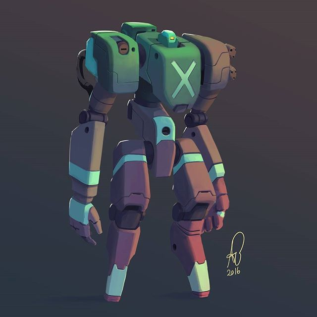 235 2016 X marks the spot, all painted up  #mech #mecha #robot #sketch #paint…