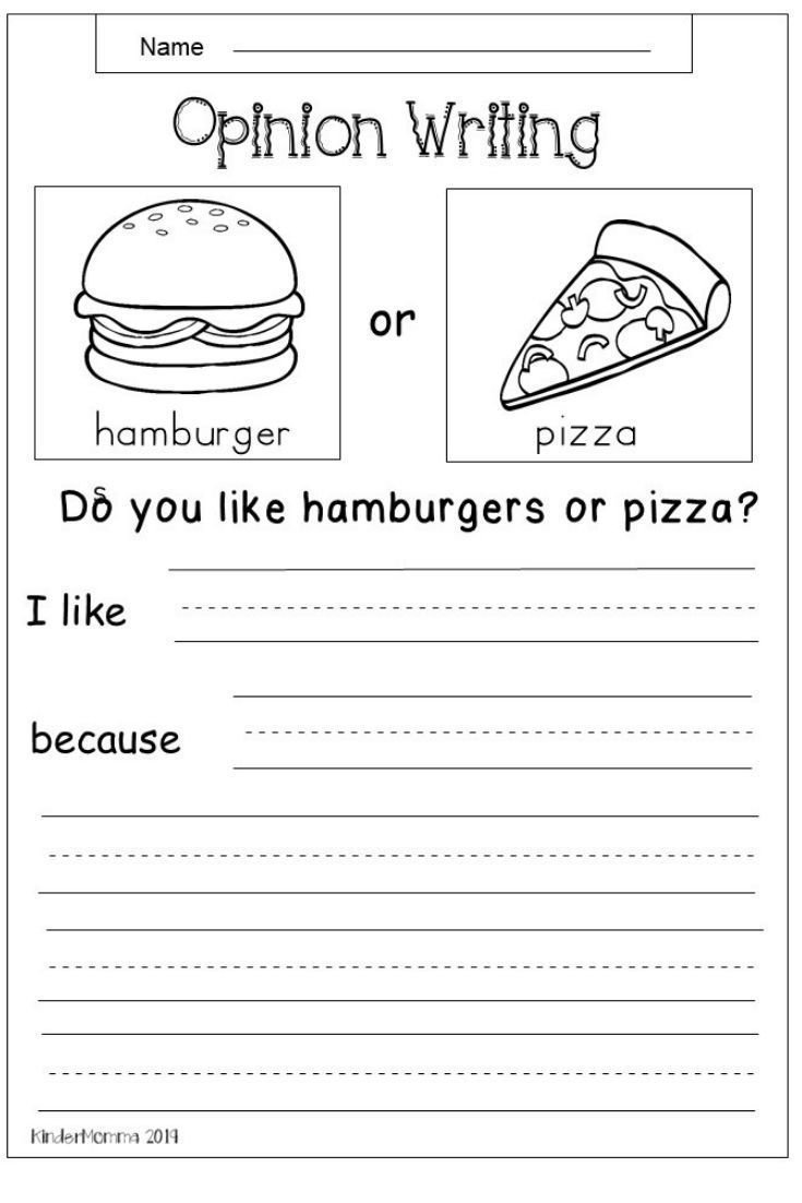 Free Opinion Writing Worksheet First Grade Writing Opinion