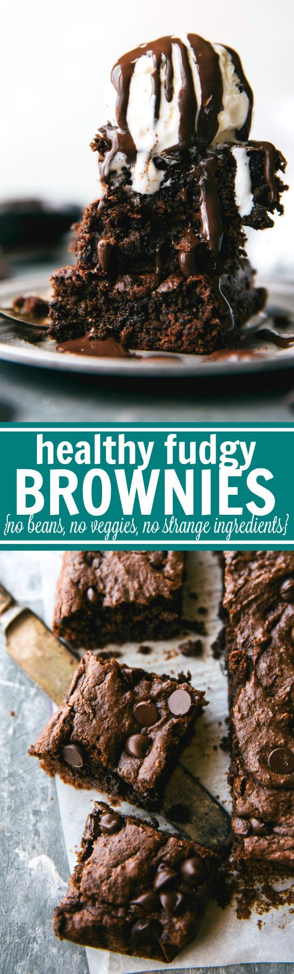 Reader said, OMG! These are amazing!!! I made them last night and I loveee them. I keep them in the fridge and they're even better the next day…with coffee. These double-chocolate, fudgy brownies are made with no oil, no butter, and no flour! But the great news is - no weird veggies or beans either! Recipe via http://chelseasmessyapron.com