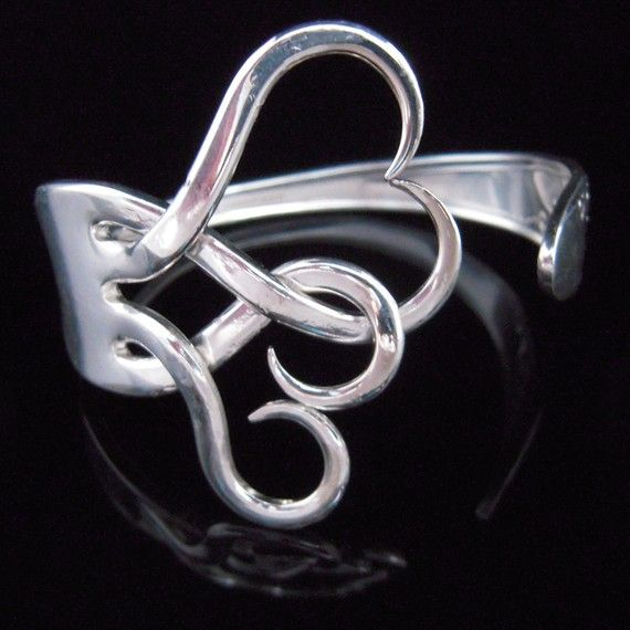 Silver Fork Bracelet in Original Intertwining by MarchelloArt