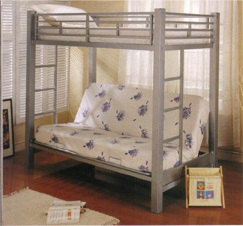 Coaster Futon Metal Bunk Bed in Silver Finish #bed