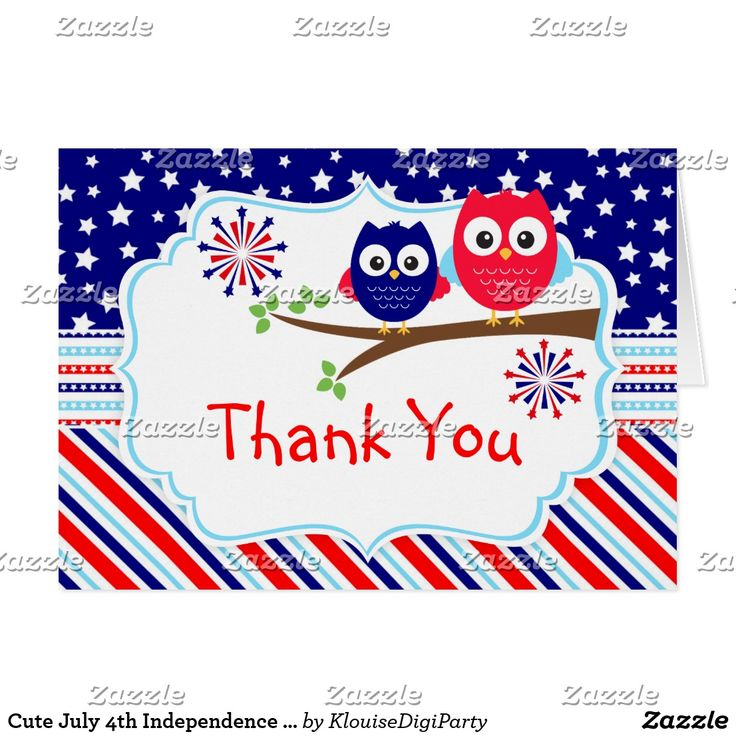 Cute July 4th Independence Day Owls Thank You Card