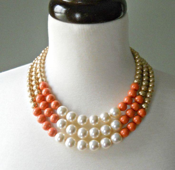 Color Block Triple Decker Necklace by Demoiselle on Etsy.