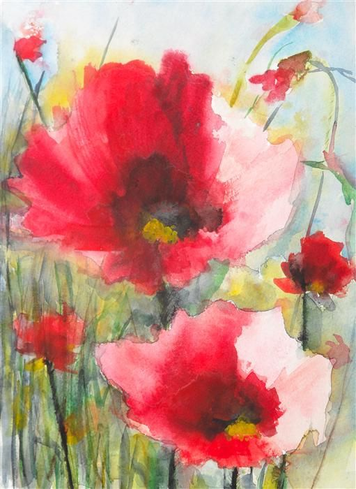 Discover Original Art by Karin Johannesson | Red Poppies XV watercolor painting | Art for Sale Online at UGallery