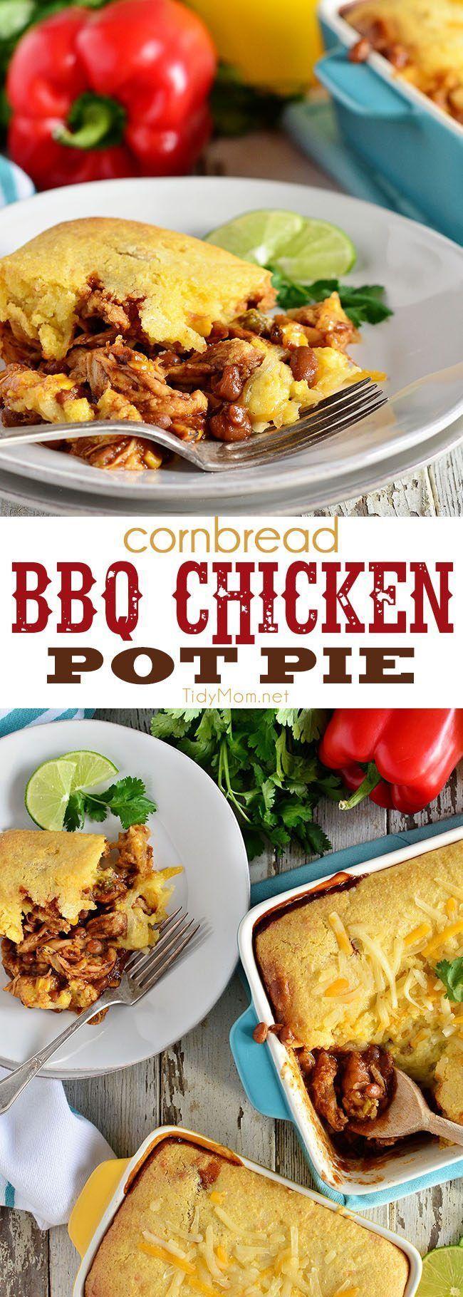 bbq chicken pot pie topped with cornbread chicken pot pies chicken ...