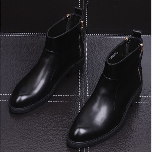 Black Leather Winter Dress Ankle Boots for Men SKU-1100176
