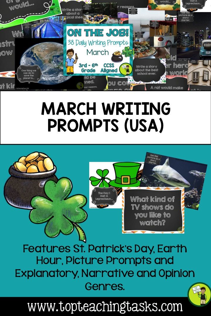 This resource includes 38 Daily Writing Prompts in three formats: PowerPoint, Journal and Worksheets. These prompts are perfect for a morning work activity, homework task or as part of your writing program. Each prompt is aligned to the CCSS for Grade 3 - Grade 7  •Eight Explanatory prompts •Eight Opinion/persuasive prompts •Eight Narrative prompts (story starters) •Ten photo/picture prompts •Four special March dates