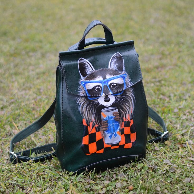 """The new backpack in MARFAsPainting shop is available ✨ The backpack decorated with hand-painted picture """"Roccoon"""" ♥️ I can change the image of your choice. Just contact me or send me a photo👌🏼"""