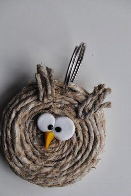 Twine Owl Keychain Pinned by www.myowlbarn.com