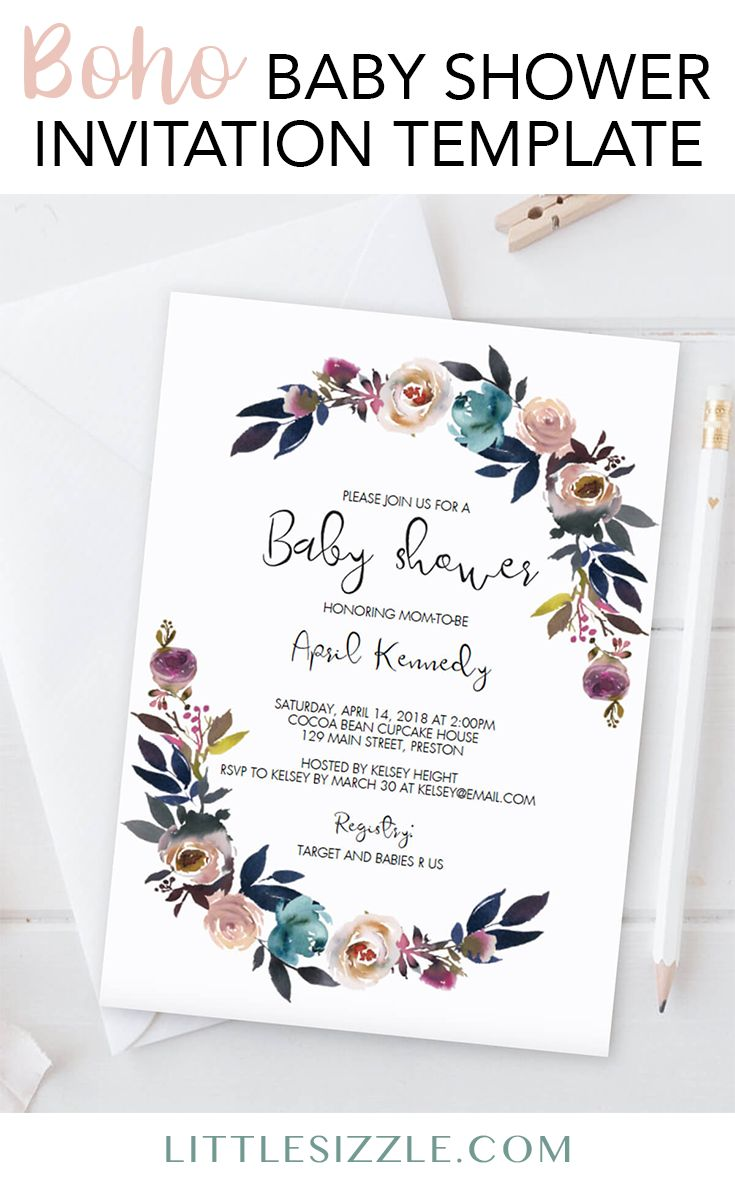 Boho baby shower invitation ideas by LittleSizzle. Create your own bohemian baby shower invitation with this stunning pink and purple floral invite template. Simply download, personalize and print. WOW your guests with your gorgeous floral watercolor baby shower invitation. No matter what the gender of the new baby, a boho themed shower is a perfect gender neutral theme. #babyshowerideas #babyshowerthemes #babyshowerinvitation #DIY #printable #boho #bohemian #invites #floral #neutral