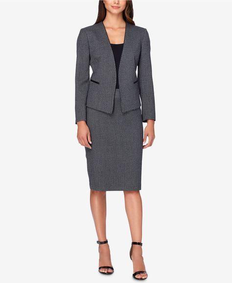 Tahari ASL Faux-Leather-Trim Houndstooth Skirt Suit - Suits & Suit Separates - Women - Macy's