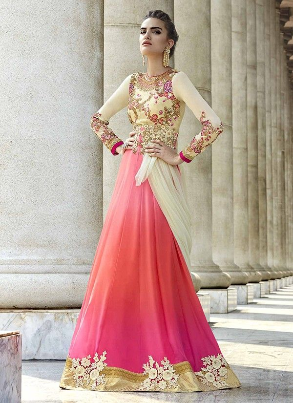 Pale Yellow and Coral Embroidered grown