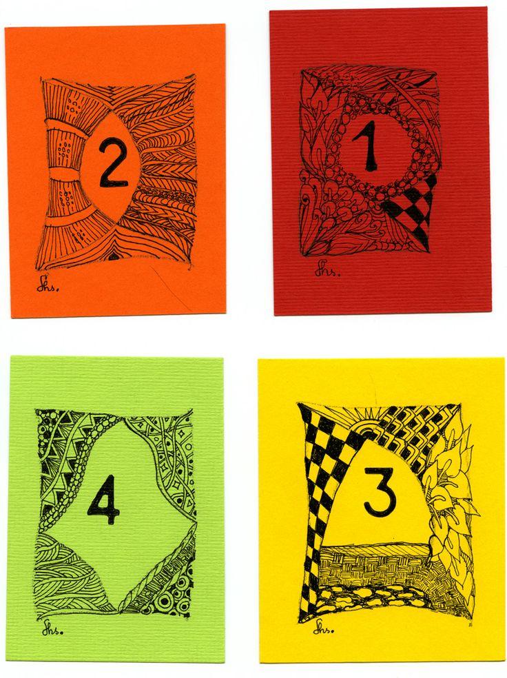 Diverse getallen uitgewerkt als Zen - quadrant