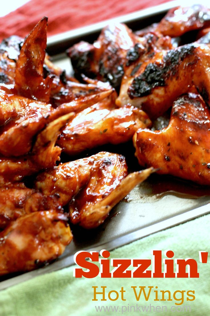 Delicious football season fare, Sizzlin' Hot Wings recipe! | 20 wings, 1 12oz bottle of Texas Pete Hot Sauce, 1 Tbsp brown sugar, 6 oz. of honey