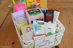 The perfect gift for a new mommy, a Mommy Survival Kit.
