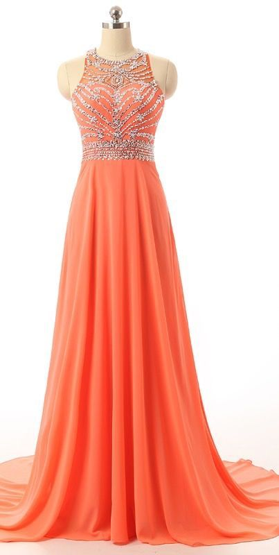 Coral Empire Beading Prom Dress, Waist Long Chiffon Evening Dress, Sleeveless Prom Dress