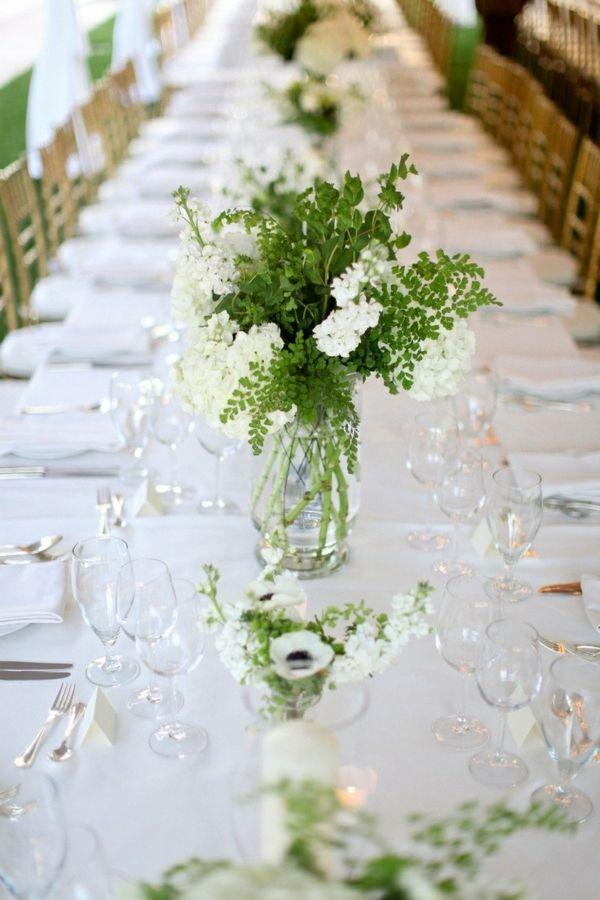grüne und weiße Pflanzen auf weißer Tischdecke