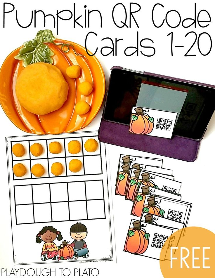 Free pumpkin QR code cards for the numbers 1 to 20. Scan the card, then build it on the ten frame. Fun fall math center for kindergarten!