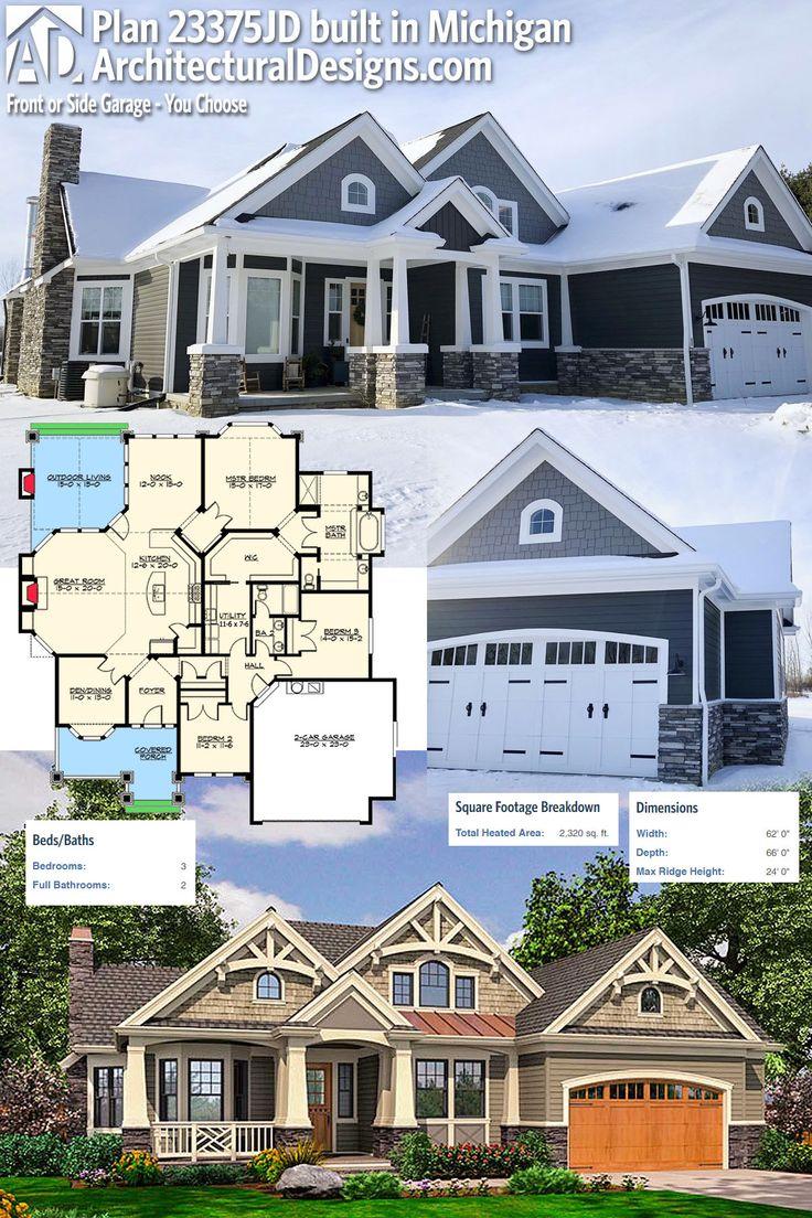 Our client built Architectural Designs Craftsman House Plan 23375JD in Michigan using a combination of stone, Hardie shakes and vinyl siding. 3BR, 2BA, 2,300+SQ FT. Ready when you are. Where do YOU want to build? #23375JD #adhouseplans #architecturaldesigns #houseplan #architecture #newhome #newconstruction #newhouse #homedesign #dreamhome #dreamhouse #homeplan #architecture #architect #craftsmanhouse #craftsmanplan #craftsmanhome