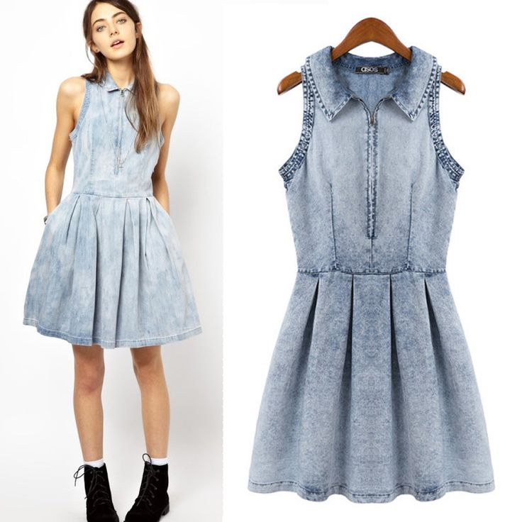 2015 lente zomer nieuwe vrouwen mode rits mouwloze denim jurk geplooide schaatser licht blauwe rook banding jurk (China (vasteland))