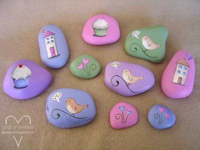 Some days, you just feel like painting rocks.  These are so pretty and would make such lovely gifts (thrifty too)