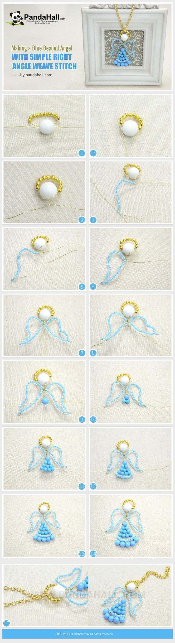 Making a Blue Beaded Angel with Simple Right Angle Weave Stitch: