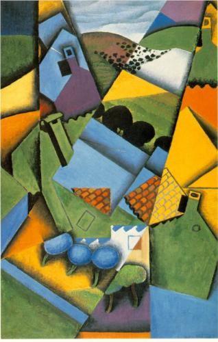 Juan Gris (1887 - 1927) | Synthetic Cubism | Landscape with house at Ceret - 1913