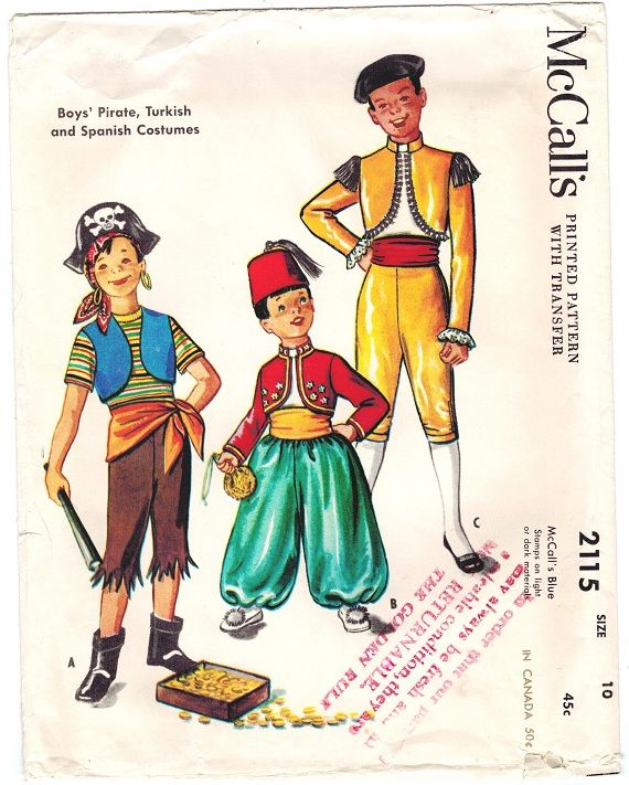 McCall's 2115 ©1953 Boys' Pirate, Turkish, and Spanish Costumes