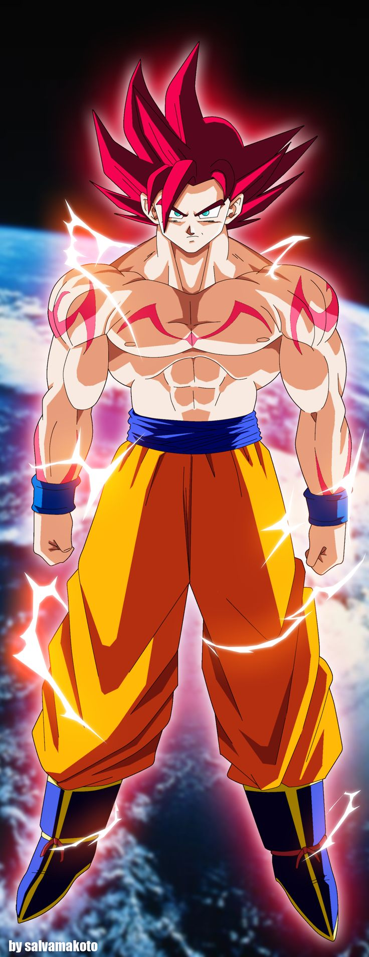 THE SUPER SAIYAN GOD !! by salvamakoto.deviantart.com on @deviantART