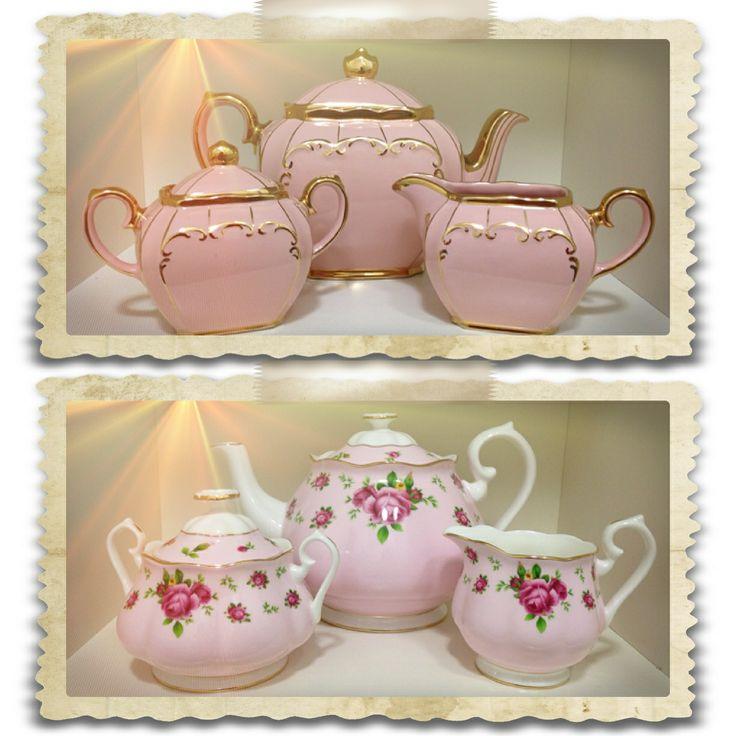 Old vs new..... Pink Sadler tea set vs new Royal Albert tea set .... X