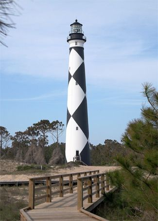 Cape Lookout Lighthouse built in 1859 is located on Harkers Island along the southern outer bank group of islands along the North Carolina coast.  Stands 163 feet tall and is the 9th tallest in the US.
