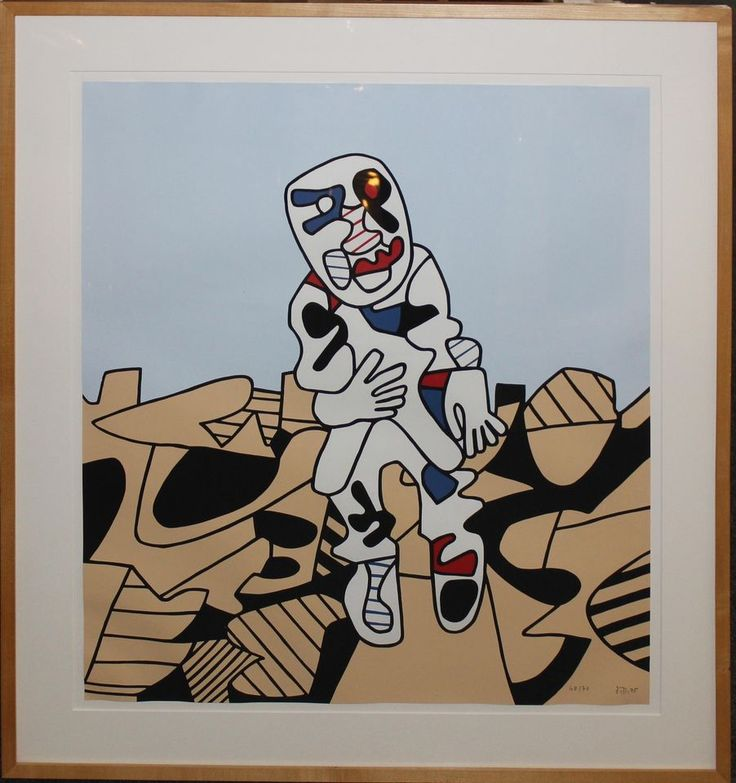 """Jean Dubuffet """"Marche en Campagne"""" screenprint on paper signed,dated and #"""