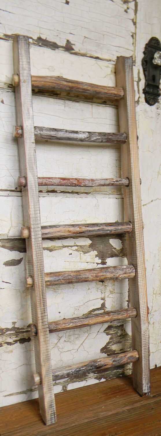 Primitive Decorative Ladder, Rustic Ladder, French Country, Wooden Decorative…