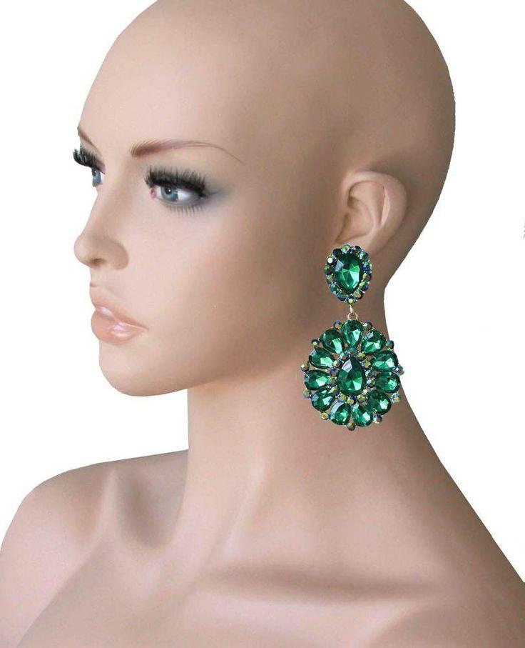 """3.25"""" Long Cluster Clip On Earrings, Green Rhinestones, Drag Queen, Pageant #Sophia #DropDangle"""