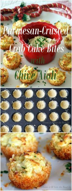 Parmesan-Crusted Crab Cake Bites with Chive Aioli, a great little appetizer to serve for the holidays! The crab mixture can be made a day in advance, then the bite-size cakes are baked in a mini muffin tin with a crust of Parmesan cheese and panko bread crumbs!