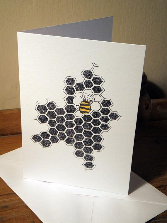 Quirky Honey Bee Greeting Card from an original by EmmaGilesArt
