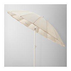 IKEA - SAMSÖ, Parasoll, , Parasollduken gir svært god beskyttelse mot UV-stråler fra sola, siden den har UPF (solfaktor) på 25+, noe som betyr at den blokkerer 96 % av den ultrafiolette strålingen.Du kan beskytte deg mot sola hele dagen, siden parasollen kan vinkles.Borrelåsen holder tekstilen på plass når den er slått sammen.